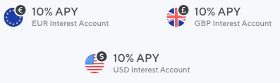 Uma imagem que mostra as taxas de empréstimo da Nexo em EUR, USD e GBP.  Todas as três moedas ganham 10% APY.